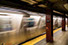 A train in motion in the subway in New York City